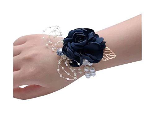Encanto pulseras niña dama de honor ramillete de la muñeca de la muñeca de seda de la muñeca de la muñeca de la perla de la perla del imitación de la pulsera del estiramiento de la pulsera de la pulse