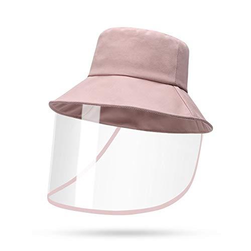 XHING Anti-Saliva Anti-Fog-Hüte Männer Frauen Staubschutz Bucket Hat Weibliche im Freien Spielraum UV Protect Fischer Mützen und Caps Sun (Color : Pink, Size : 55 60 cm)