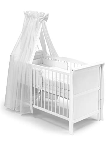 KOKO Babybett Gitterbett Kinderbett Lilly Komplett-Set 120x60 cm Weiss 0933-WS