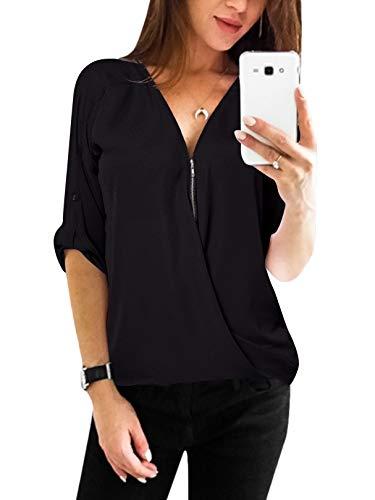 YOINS Sexy Oberteil Damen Sommer Elegante Langarmshirts Damen Bluse Tunika Frühling T-Shirt V-Ausschnitt Tops EU36-38 Schwarz-kreuz