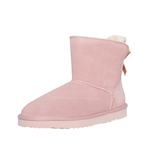 SKUTARI Wildleder Damen Frauen Winter Boots | Warm Gefüttert | Schlupf-Stiefel mit Stabiler Sohle | Schleife Pailletten Glitzer Meliert Schuhe, Pink/5023, 38 EU