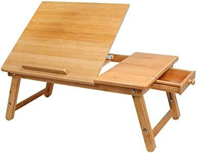 Bambus Laptoptisch, Faltbar Notebook Computer Sofa Tisch tragbarer Schreibtisch , mit Schublade ,höhenverstellbar Faltbare Betttisch , für Lesen oder Frühstücks