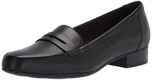 Clarks Women's Juliet Coast Loafer, Black Leather, 9.5 Narrow