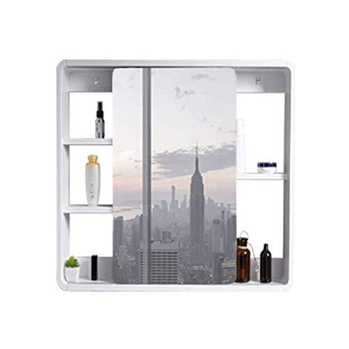 XCJJ Wand-Massivholz-Medizinschrank, Badezimmerschrank mit Kosmetikspiegel, Waschbeckenschrank, Schiebetür, für Schlafzimmerbalkoneingang,600 * 600 mm