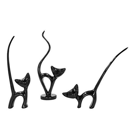 Aoneky Figura de Gato - Set de 3, Familia de 3 Gatos, Estatua Decorativa de Resina, Estilo Minimalista Nórdico Moderno, Decoración para Hogar Casa, Gato Negro