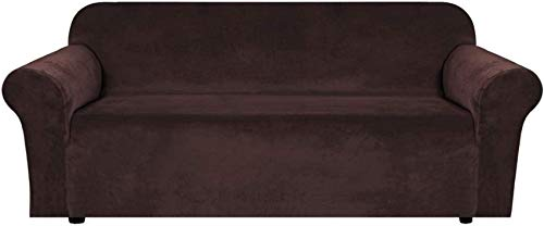 Funda de sofá elástica de terciopelo, 1 cojín, fundas de sofá, fundas de sillón para sala de estar, fundas de sillón para sillas, artículos de espuma suave, gruesa y antideslizante (chocolate, 4 plaz