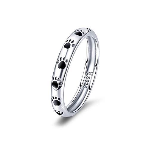 Regalo de Navidad Anillos de pata de perro de plata de ley 925 con huellas de gato apilables para los dedos, anillos de boda, regalos de cumpleaños para mujeres y niñas