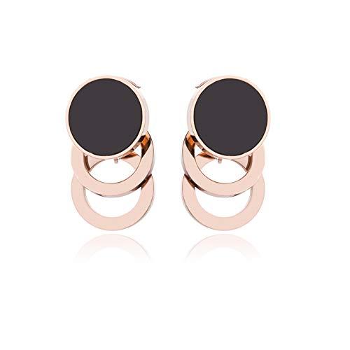Yarmy personalidad titanio acero pendientes creativo moda hueco dos colores mujer oro rosa pendientes joyería regalos