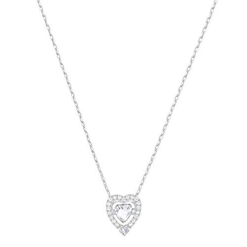 Swarovski Sparkling Dance Heart Halskette für Frauen, weißes Kristall, rhodiniert