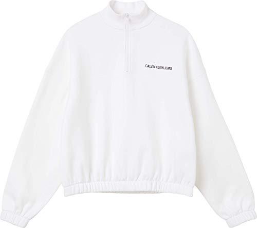 Calvin Klein Jeans Vertical INSTITUTIONAL Half Zip Sudadera, Bright White, XS para Mujer