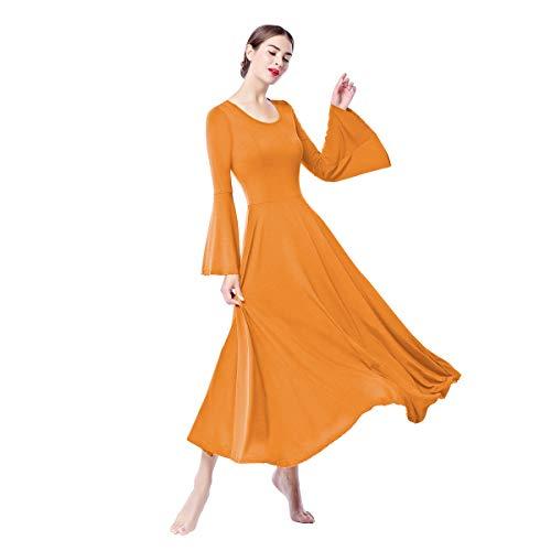 IBTOM CASTLE Vestito Donna Liturgico Manica Lunga Asimmetrico Abito da Balletto Ginnastica Classico Danza Combinazione Dance Costume Cerimonia Tunica Vestire Arancio S