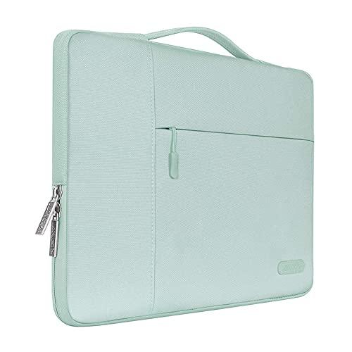 MOSISO Funda Blanda Compatible con MacBook Air 13 A2337 A2179 A1932/ MacBook Pro 13 A2338 A2251 A2289 A2159 A1989 A1706 A1708, Poliéster Maletín Protectora Multifuncional Bolso,Menta Verde