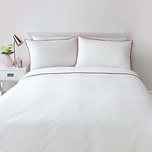 Serene - Pom Pom - Easy Care Duvet Cover Set | Super-King Size | White Bedding with Pink Pom Poms