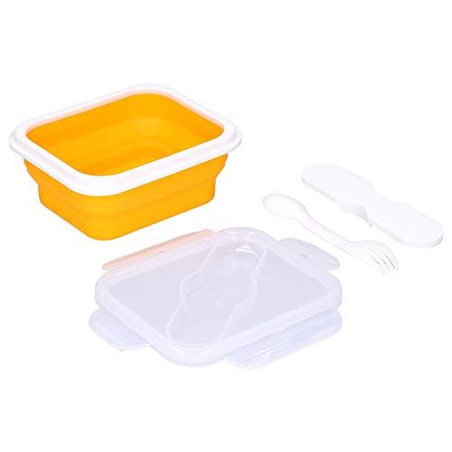 Sencillo y elegante Caja de almuerzo térmico, Caja de almuerzo, 600 ml plegables con una cuchara de tenedor para la escuela para estudiantes para el personal de la oficina (naranja, 600 ml)