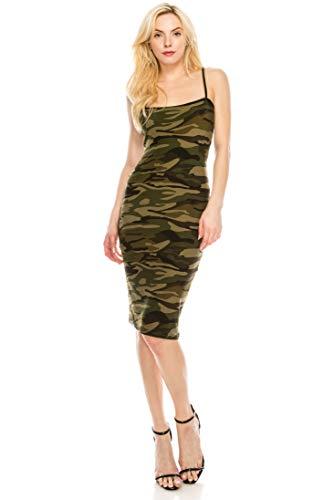 ALWAYS Women Camo Bodycon Dress - Midi Premium Soft Jersey Stretch Spaghetti Straps Back Split Spring Summer Camouflage Military Army Cocktail Dress L