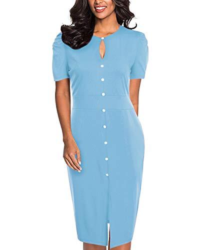 SOLERSUN Damen Kurzarm Kleider, Damen Office Wear Kleider Damen Knielang Schlank Abendkleider mit Schlüsselloch Blau M