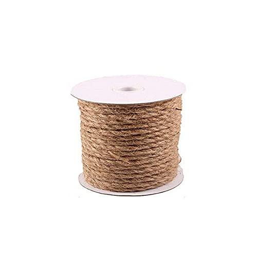 Cuerda de yute de 10 m de largo, cuerda de embalaje para arte y manualidades, decoración del hogar, empaque, bricolaje, colgar, envolver (color: 10 m, tamaño: 14 mm)