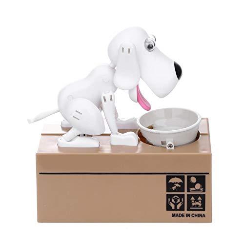JUNERAIN Spardose - Hungry-Fress-Hunde-Münzen-Spardose - Choken-Robotic-MEC, weiß