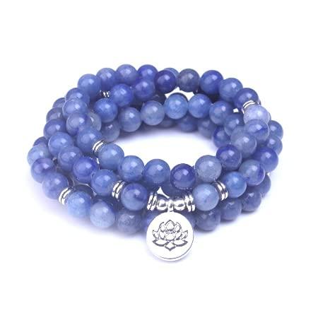 Pulsera Mala Lotus de 108 perlas de aventurina azul