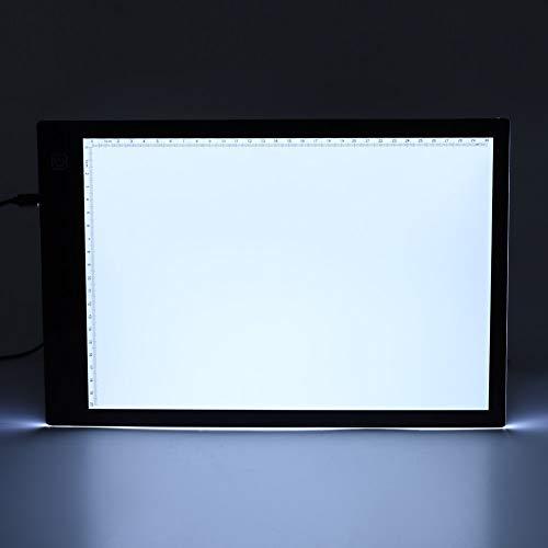 AMONIDA Almohadilla de luz LED, Tablero de Almohadilla de Caja de luz Tablero de rastreo LED Clips para Documentos Calidad Profesional Brillante y Uniforme para Dibujo de diseño para Manualidades