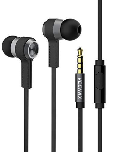 VEENAX M6 In Ear Kopfhörer, Wired Ohrhörer mit Mikrofon, Earphone Headphone mit Bass, Stereo Kabelgebundene Earbuds für iPhone iPad Samsung Handy Smartphone Computer PC MP3, 3.5mm Aux Kabel, Schwarz