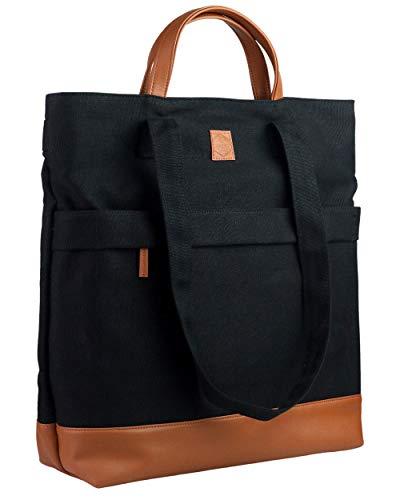 Kuratist 3-in-1 Convertible Canvas Totepack Rucksack No. 2 Premium (14L) Wasserabweisend (geeignet für 13.3' Laptops) für Uni Arbeit Reisen Shoppen (Schwarz/Braun)