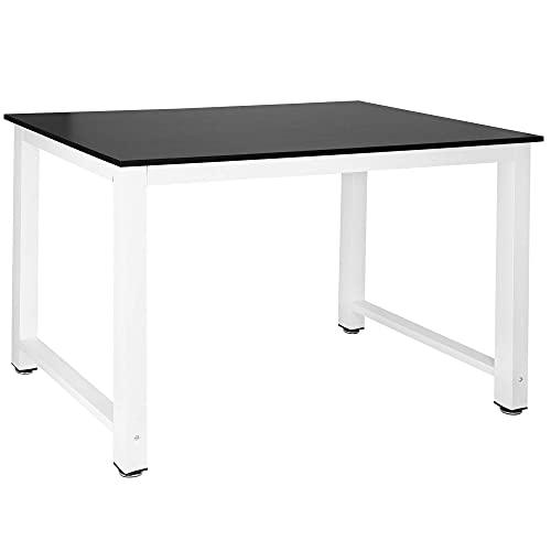 SPRINGOS Mesa pequeña para ordenador, mesa de trabajo, mesa de comedor, mesa de comedor para cama individual (110 x 60 x 74 cm), color negro y blanco
