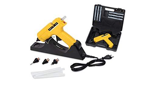 Powerplus POWX146 Heißklebepistole, schnurloses Heißklebegerät im Koffer 25W inkl. 6 Klebestifte und Wechseldüsen