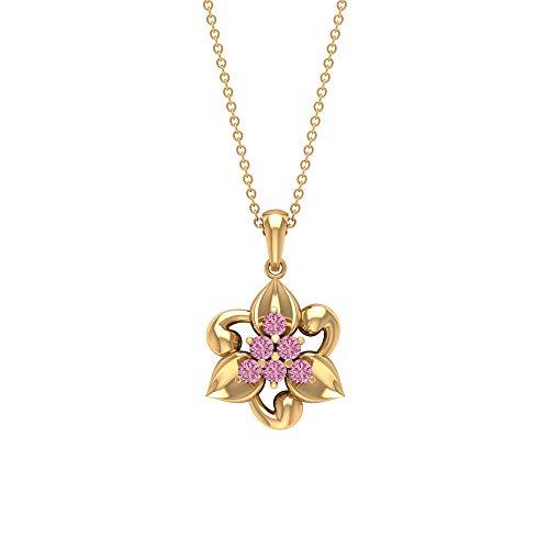 Collana a grappolo di tormalina in oro 0,42 ct, collana floreale (2,50 mm di tormalina a forma rotonda),18K Giallo oro Con Catena