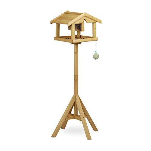 Relaxdays Vogelhaus mit Ständer, Aus Holz, Unbehandelt, Stehend, Vogelfutterhaus Bausatz, HBT: 117 x 50 x 50 cm, braun