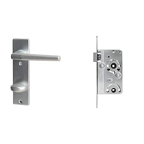 Alpertec Aluminium Florence-Kurzschild Silber eloxiert für Badtüren WC 78 mm Drückergarnitur Türdrücker Türbeschläge Neu & ABUS Tür-Einsteckschloss TKB10 L S, für DIN-links Türen, silber