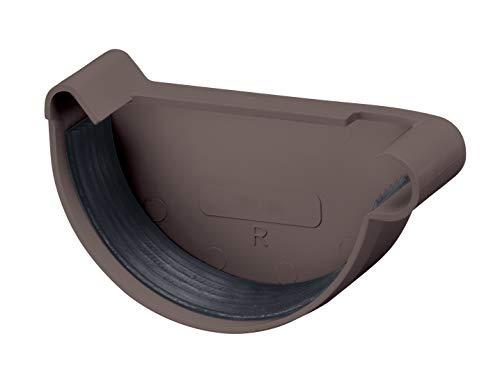 INEFA Rinnenendstück halbrund Dunkelbraun NW 150, rechts, Kunststoff, Regenrinne - Stück für Rinne, Dachrinnen, Kunststoffrinne für Gartenhaus, Gewächshaus - Endstück, Zubehör