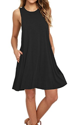 AUSELILY Women's Solid Plain Summer Sleeveless Pocket Casual Loose T-Shirt Dress Tank Dresses Black