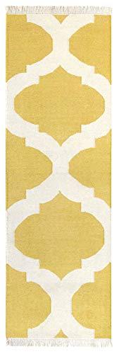 HAMID - Alfombra Kilim Tile con Diseño Geométrico - 100% Lana - Alfombra Anudada a Mano - Alfombra de Pasillo, Salón, Dormitorio, Sala de Estar - Amarillo (80x250cm)