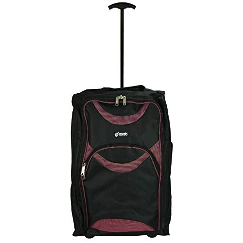 Lightweight Wheeled Cabin Bags, Hand Luggage Trolley Approved for Ryanair, EasyJet, British Airways, Jet2 and More (1 x Black & Pink)