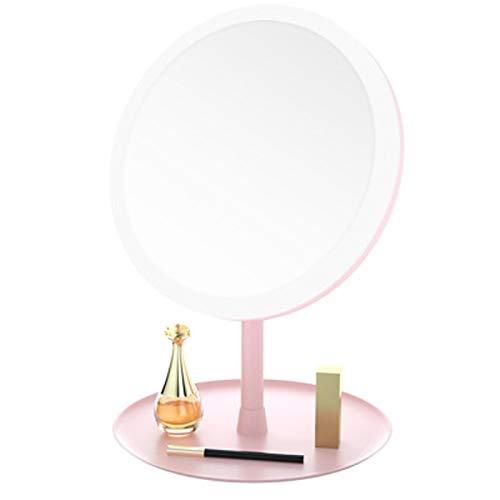 Espejo de maquillaje con luz Maquillaje de escritorio portátil llevado del espejo de escritorio dormitorio Espejo con luz de relleno Luz Espejo de mesa compacto ( Color : Pink , Size : 25X19X19cm )