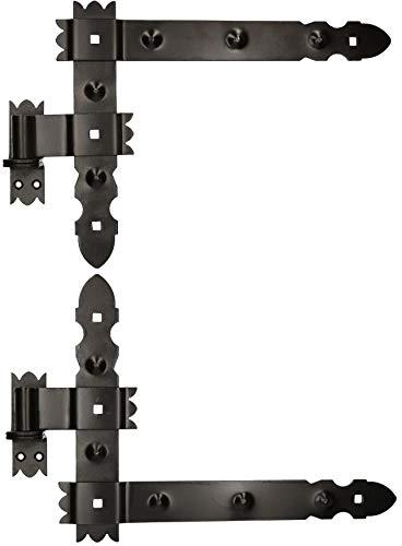KOTARBAU® Winkelband 400 x 300 mm mit Kloben 1 Paar Fensterladenband Winkelscharnier Türband Torband Schwarz Pulverbeschichtet Fensterband Baubeschlag