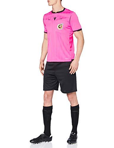 Macron Rfef 20 Match Day Man Shirt Referee SS Npnk/Blk SR, Camiseta árbitro neón Real Federación Española de Fútbol, Hombre, Rosa Fluo, L