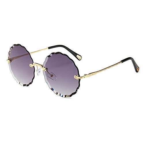 LCSD Gafas de Sol Gafas UV400 Recorte Púrpura Sin Marco Flores Redondas Personalidad Polígono Gafas De Sol Mujeres
