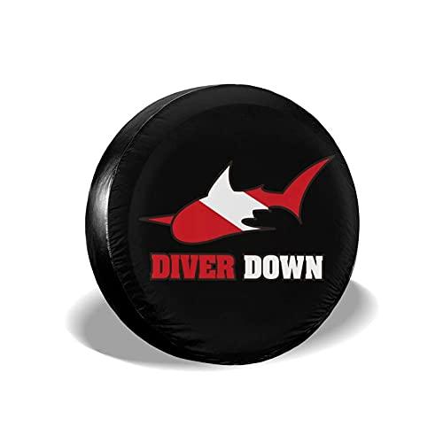 NA- Housse de Roue Buzo con tiburón Bandera Funda para Neumáticos Cubierta para Rueda de Repuesto Protección Bolsa de Almacenamiento 14 15 16 55 Pulgadas para Varios Remolque RV SUV