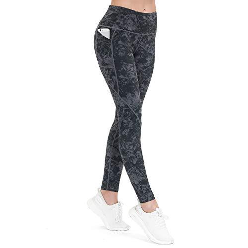 ALONG FIT Damen Sport Leggings mit Gummiband 3 Taschen High Waist Blickdichte Sporthose Hohe Taille Yogahose für Gym Fitness Joggen Trainieren Marmor Grün S