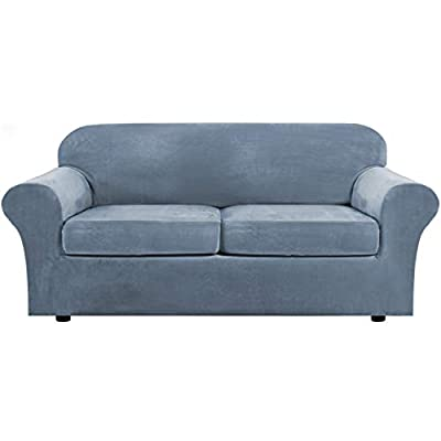 Real Velvet Plush 3 Piece Stretch Sofa Covers Couch Covers for 2 Cushion Couch Sofa Slipcovers (Base Cover Plus 2 Large Cushion Covers) Feature Thick Soft Stay in Place (Sofa, Stone Blue)