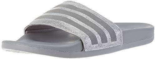 adidas Comfort Adilette, womens Slide, Grey/Grey/Platin Metallic, 38 EU