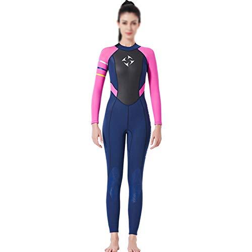 Zidao Frauen Neoprenanzug, Damen Sommer Voller Länge Neoprenanzug Für Wassersport Erwachsene Neopren Hochelastischen Surf Neoprenanzug,Rosa,XS