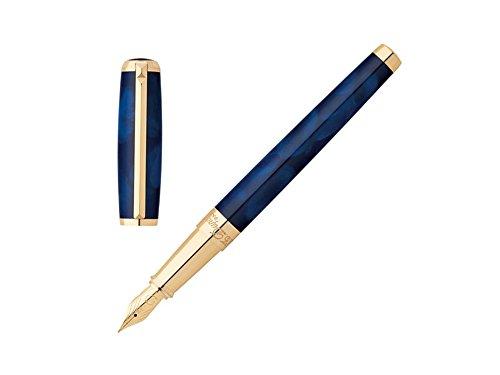Color: Azul marino con adornos dorados Plumín: 18K oro || sistema de relleno: Cartucho/convertidor Sistema de cierre: cierre || garantía: 2años País de Fabricación: Francia