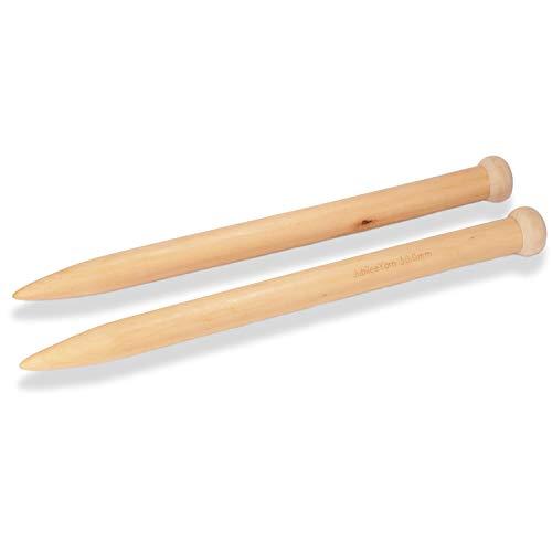 "Jumbo Large Wooden Knitting Needles for Super Chunky Bulky Yarn Knitting - 30mm Dia. - 15.5"" - 1 Pair"