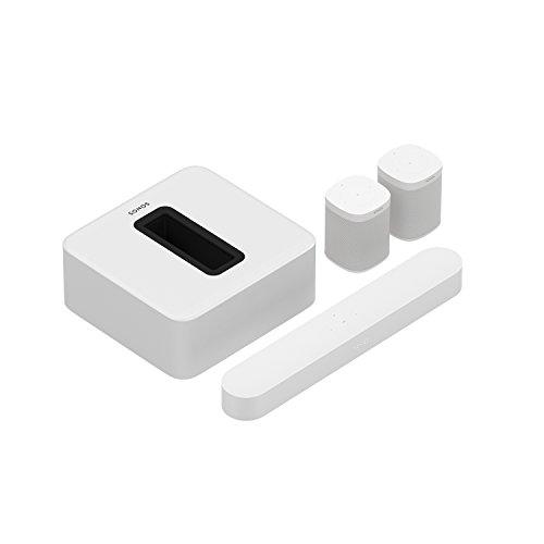 Sonos Beam WLAN Soundbar Speaker | Heimkinoset (5.1 | Beam + Sub + 2X One, weiß)