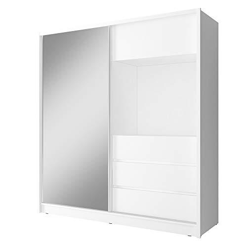 BMF TV200 Armario moderno blanco de 200 cm de ancho con puerta corredera con espejo para TV