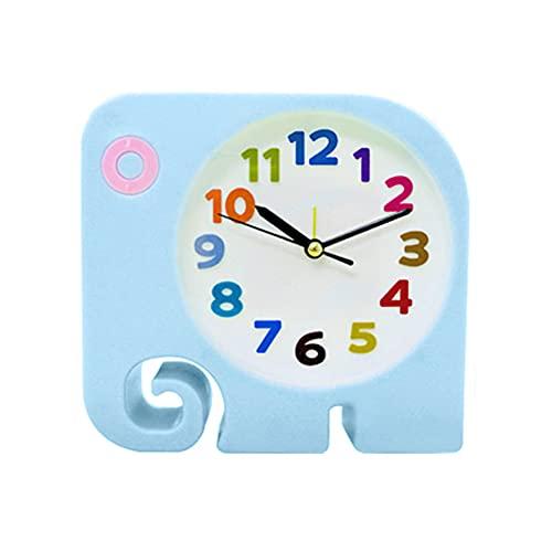 KNMY Despertador infantil con diseño de elefante, portátil, funciona con pilas, para habitación de los niños, mesita de noche, escritorio, regalo de cumpleaños para niños y niñas (azul)