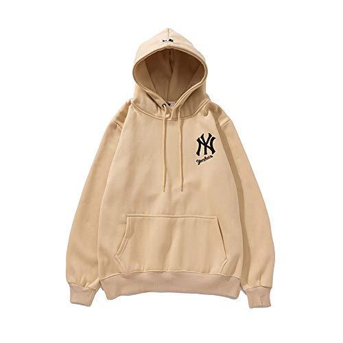 XCBW Männer/Frauen MLB NY Yankees Sweatshirt Hoodie 98% Fleece Langarm Freizeit Sport Baseball Uniformen, Lose Jacke, Mit Tasche,Braun,M